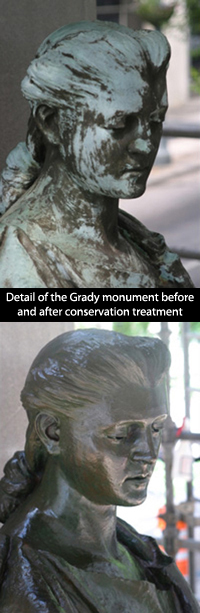 Detail of the Grady monument before and after conservation treatment