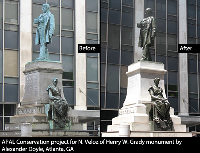 APAL Conservation project for N. Veloz of Henry W. Grady monument by Alexander Doyle, Atlanta, GA before and after