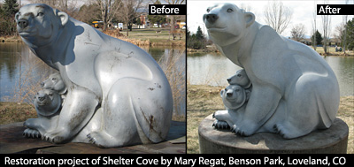 Restoration project of Shelter Cove by Mary Regat, Benson Park, Loveland, CO before and after