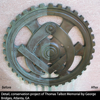Detail, conservation project of Thomas Talbot Memorial by George Bridges, Atlanta, GA before and after