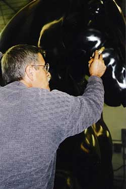 Pat working on a Botero